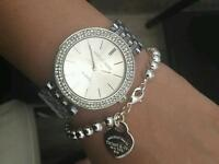 Michael Kors Watch Ladies Silver Diamond Darci (not Rolex,Cartier,Gucci,Versace,armani,hublot)