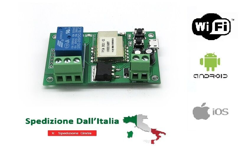 PULSANTE WIFI DOMOTICA PER RELE' PASSO PASSO ANDROID IPHONE WIRELESS MONOSTABILE