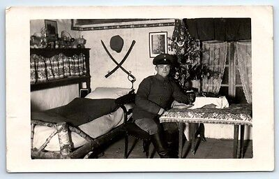 Antique WW1 GERMAN Real Photo RPPC Postcard SOLDIER & SWORD with CHRISTMAS TREE