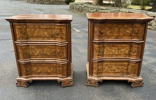 RARE Antique pr Italian diminutive 3 drawer chests late Renaissance style c1700