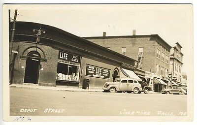Livermore Falls ME Street View Store Fronts Old Cars RPPC Real Photo (Livermore Stores)
