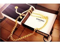 Authentic CHANEL Heavy Gold Chain Belt with Luxury Pearls!!