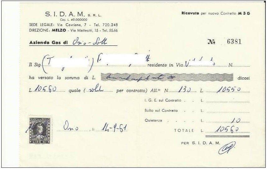 Ricevuta pagamento fornitura gas - 14-9-1961 con marca da bollo di Lire 10