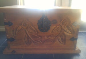 Antique hand made and carved trunk