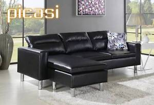 SOFA PU Leather Modular Chaise Lounge 4 Seater Couch Black Bangalow Byron Area Preview