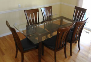 Glass Top Table With 6 Chairs