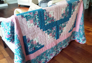 Vintage Hand-Stitched Quilt - Dark Greens and Pinks
