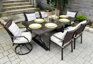 Last Set!! 7pc Aluminum/Wicker Dining Set