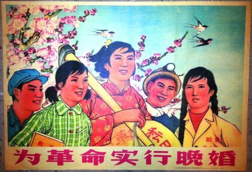 Chinese Cultural Revolution Poster,1973,Family Planning Propaganda, Original
