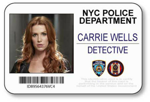 CARRIE WELLS UNFORGETABLE NAME BADGE PROP HALLOWEEN COSTUME PIN BACK