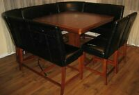 Beautiful Serena Pub Table and Leather Benches