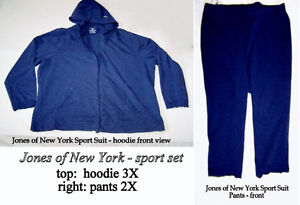Jones New York matched sport pants 2x & hoodie 3X, excellent