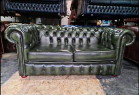 Antique Green Chesterfield 2 Seater Sofa Bed