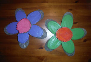 2 Handcrafted Wood Flowers - Whimsical Indoor/Outdoor Decor