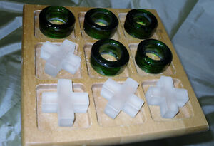 Sale $5.00 Glass X s & O s game with wooden board