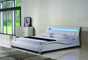 NEW ARRIVAL - Avenue Leather Platform bed with lights