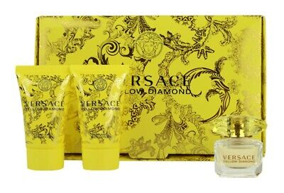 Versace Yellow Diamond Gift Set 5ml EDT+25ml Shower Gel+25ml Body Lotion  Women