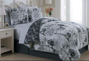 Paris Theme King Size 8 Piece Comforter Set - Brand New