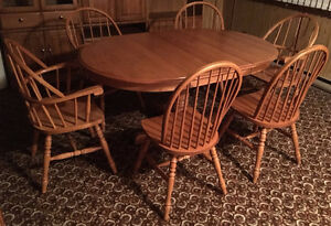 DINING TABLE WITH 6 CHAIRS OAK/CHÊNE