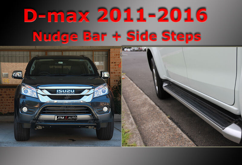 ISUZU D-max Side Steps + Nudge Bar Dual Cab Black 2012-2019