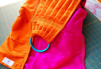 Custom made orange/fuchsia double layer dupioni silk ring sling