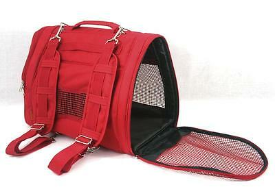 Prefer Pets Dog Pet Cat Backpack Carrier Airline Approved Red Nylon Up to 15 Lbs