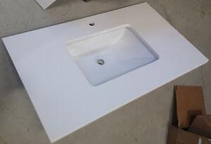 White Bathroom Vanity Quartz Countertop