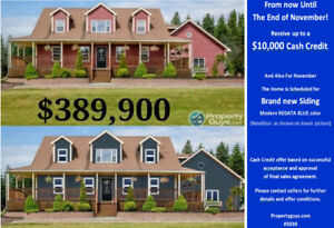 $10,000 Cash Credit. Custom home on 1.1 acres near Saint John NB