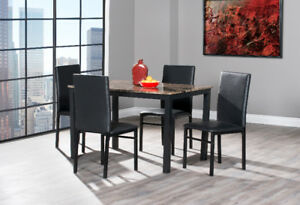 Modern Stylish Faux Marble 5 Pc Dining Set on Clearance