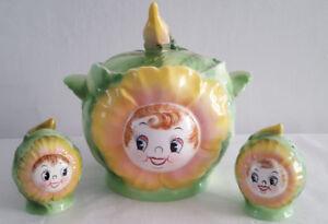 Vintage 1950s Japanese Cookie Jar, Salt/Pepper Shakers-PY Stamp