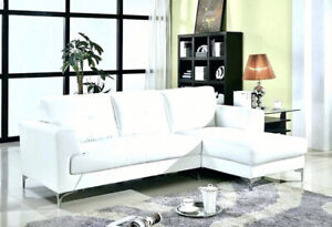 Moe's WHITE LEATHER SECTIONAL SOFA