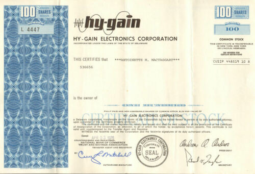 Hy-Gain Electronics > 1976 Lincoln Nebraska citizen band radio stock certificate