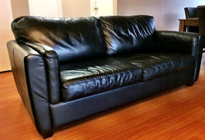 Black LEATHER Sofa, couch, Love Seat (soft, cozy feel)