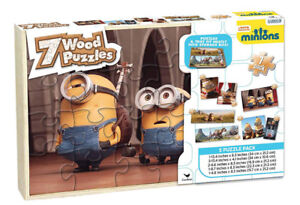 Minions 7 Wood Puzzles In Wooden Storage Box