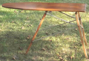 OLD WOOD IRONING BOARD REFINISHED TOP BOARD larger size