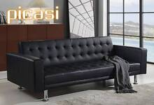 SOFA BED LOUNGE Black Pu Leather Mattress Couch Bangalow Byron Area Preview