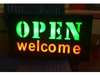 Open Welcome Multi Flashing Lights Bright LED Sign Retail Shops Takeaway