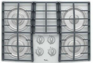 "Whirlpool 30"" Gas White Cooktop - Cast Iron Grates - NEW in BOX"