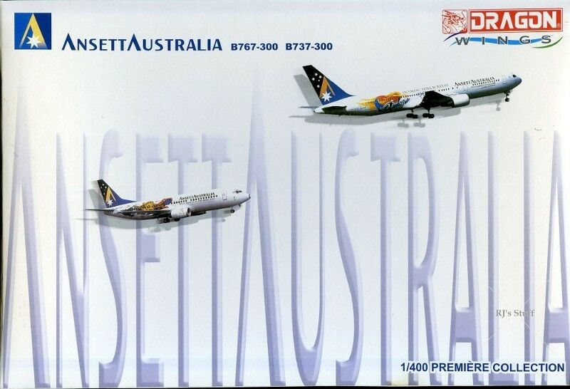 RARE Dragon Wings #55440 ANSETT AUSTRALIA Boeing 767-300 & 737-300 1:400 Scale Model Aircrafts