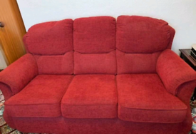 G Plan Claret 3 seater sofa and electric recliner chair
