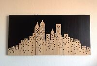 CITY SKYLINE. CARVED ON 3 WOODEN PANELS - 1/2 PRICE!
