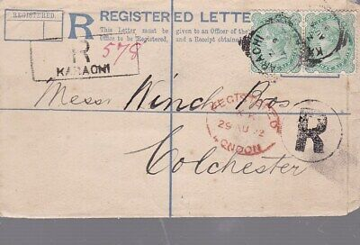 1892 India #43(2) on 3 anna Karachi Reg Cover to England; cover size 83x132mm *d