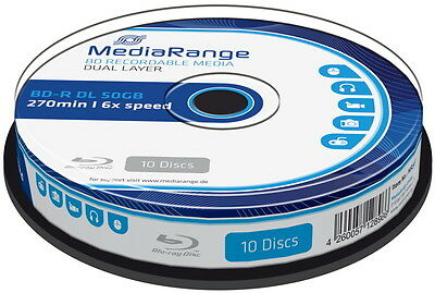 10 Mediarange Blu-ray BD-R Dual Layer 50GB DL 6x Spindel 50 GB