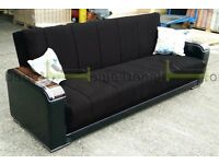 **7-DAY MONEY BACK GUARANTEE!** Talbot Fabric Sofabed with Wooden Arms in Two Colours -BRAND NEW!