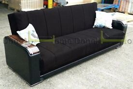 **7-DAY MONEY BACK GUARANTEE!*Talbot Luxury Fabric Sofabed with Extrafirm Padding in Black and Brown