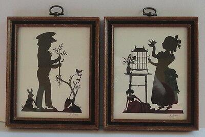 Framed Matching Pair Silhouettes by Artist Blance Turner Boy Bunny & Girl Bird