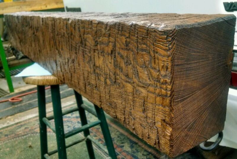 Hand hewn reclaimed oak mantle