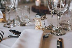 Mini mason jars with lids, LOVE embossed, wedding favours