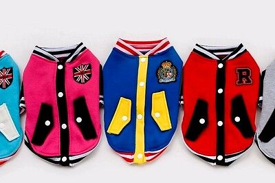 UK Pet Jumper Varsity College Jacket for Small Dogs Puppies Outfit Costume Coat  - Costumes For Dogs Uk