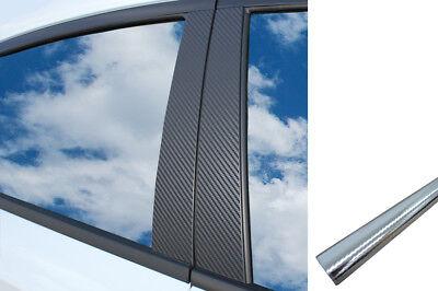 6x PREMIUM A B C Säule Tür Leisten Auto Folie Wrap Set in Carbon Chrom Silber